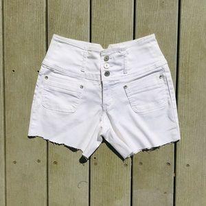 White denim high waisted button up shorts